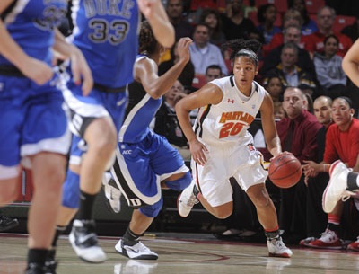 Alyssa Thomas dribbles the ball up the court against Duke Feb. 17.  Thomas led the Terps to a 24-win season and an NCAA Tournament berth. (Courtesy Maryland Athletics)