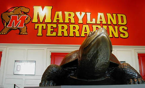 Testudo, the University of Maryland mascot, greets visitors at the doors of Cole Field House.