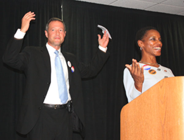 Gov. Martin O'Malley and Md. Rep. Donna Edwards visited the University of Maryland, College Park, in September to encourage students to register to vote.