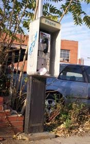 An abandoned pay phone/Newsline photo by Raechal Leone
