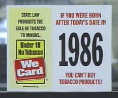 A sign warns that minors may not purchase tobacco