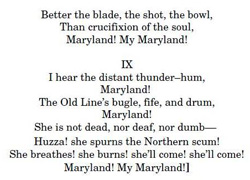 Text from Maryland's state song