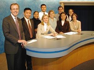 The TV Bureau Crew, Fall 2002. Mark Lodato is at far left. (Photo by Chris Harvey)