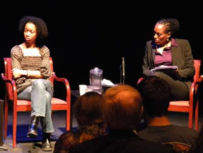 Dancer Gesel Mason and panel moderator Dr. Michelle Rowley talk about Internet identities for women. (Photo by Maryland Newslines Melissa Quijada)