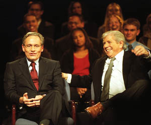 Bob Woodward (left) and Carl Bernstein during the discussion