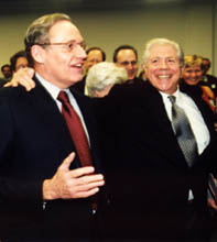 Bob Woodward (left) and Carl Bernstein at a reception before the panel discussion